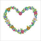 Flower heart frame — Stock Vector