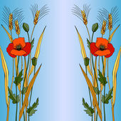 Red poppy in blue style — Vector de stock