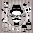 Retro gentleman face and accessories, isolated — Stockvector