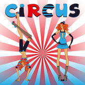 Two thin circus girls — Stock Vector