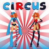 两个薄的马戏团女孩 — 图库矢量图片