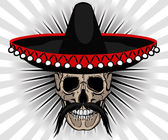 Skull Mexican style with sombrero and mustache — Wektor stockowy