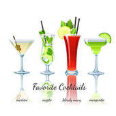 Favorite cocktails set, isolated — Stock Vector