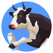 Cow and milk — Stock Vector