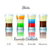 Favorite shot cocktails set, isolated — Stock Vector