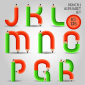 Alphabet in wooden pencil style, red and green — Stock Vector