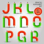 Alfabeto in stile matita in legno, rosso e verde — Vettoriale Stock
