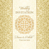 Baroque wedding invitation, gold — Stock vektor