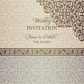 Baroque wedding invitation, patina — Stock Vector