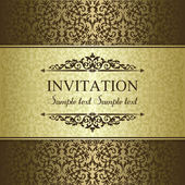 Baroque invitation, gold and brown — Stock Vector
