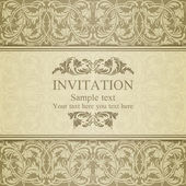 Baroque invitation, beige — Stock Vector