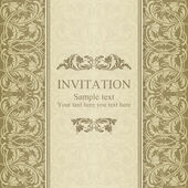 Baroque invitation, beige — Stockvektor