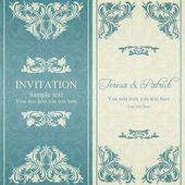 Baroque invitation, blue and beige — Stockvektor