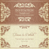 Baroque invitation, brown — Stock Vector