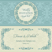 Baroque wedding invitation, blue and beige — Stock Vector