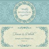 Baroque wedding invitation, blue and beige — ストックベクタ