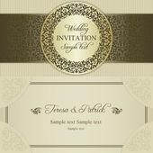 Baroque wedding invitation, gold and beige — ストックベクタ