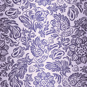Baroque pattern with birds and flowers, purple — Stockvector