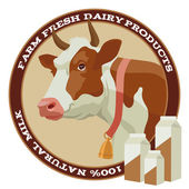 Cow and milk — Vector de stock