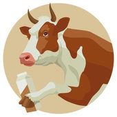 Koe en de melk — Stockvector