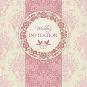 Baroque wedding invitation, pink and beige — Vecteur