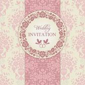 Baroque wedding invitation, pink and beige — Wektor stockowy
