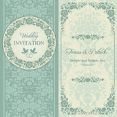 Baroque wedding invitation, blue and beige — Vecteur