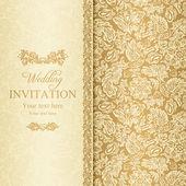 Convite de casamento barroco, ouro — Vetorial Stock
