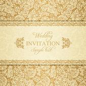 Baroque wedding invitation, gold — Stock Vector