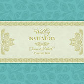 Türk salatalık düğün davetiyesi, altın ve mavi — Stok Vektör