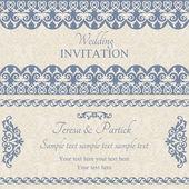 Baroque wedding invitation, dark blue — Stock Vector