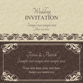 Baroque wedding invitation, brown — Stock Vector
