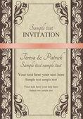 Invitación barroca, marrón — Vector de stock