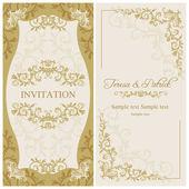 Baroque wedding invitation, gold and beige — Stock Vector