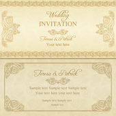 Baroque wedding invitation, gold — Stock Vector