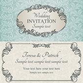 Baroque wedding invitation, brown — Stock Vector