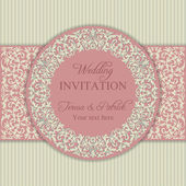 Baroque wedding invitation, pink and beige — Stock Vector