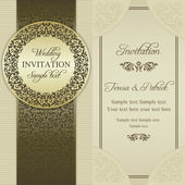 Baroque wedding invitation, gold and beige — Stock Vector
