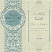 Baroque wedding invitation, blue and beige — Stockvector