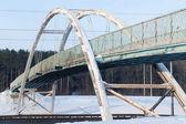 Old footbridge over the  highway — Stock Photo