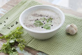 Mushroom cream soup served with garlic and greens — Foto Stock