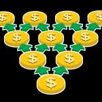 Yellow coins, geometric progression, profit growth finance concept — Stock Vector #46885287