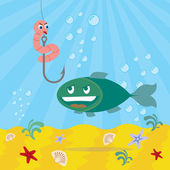 Fish and worm, worm lolling out, underwater background — Stock Vector