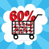 Sixty percent discount, shopping cart concept — Stock Vector