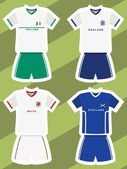 Set of abstract football jerseys, ireland, england, wales and scotland — Stock Vector