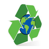 Recycle symbol with planet earth — Stock Vector