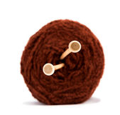 Knitting yarn balls and needles. — Foto Stock