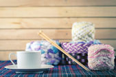 Knitting yarn balls and needles. — Stock Photo