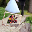 Frame and wedding bouquet close up — Foto Stock