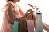 Close-up of woman with shopping bags — Stock Photo